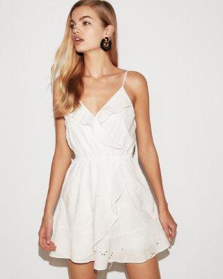 Express dresses floral eyelet ruffle wrap cami dress | express UDWPBDH