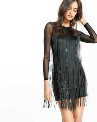 Express dresses fringe sequin mini dress | express JVAWXPM