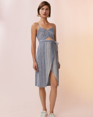 Express dresses striped cut-out linen-blend midi dress | express JVSGNLQ