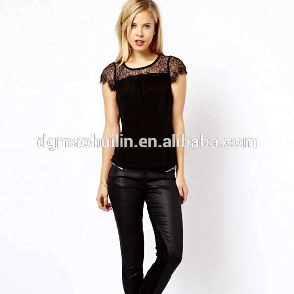 fancy black tops for women,sexy women party wear tops with short sleeve  made in KVSCYYP