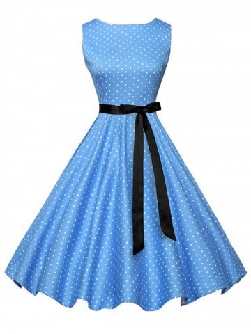 fancy polka dot a line vintage dress with belt EXPMACK