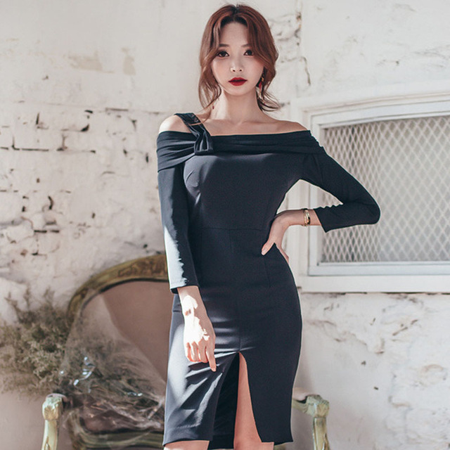 fashion Korea fashion korea style sexy dress women off shoulder straight collar design  package hip sexy VBFWPKA