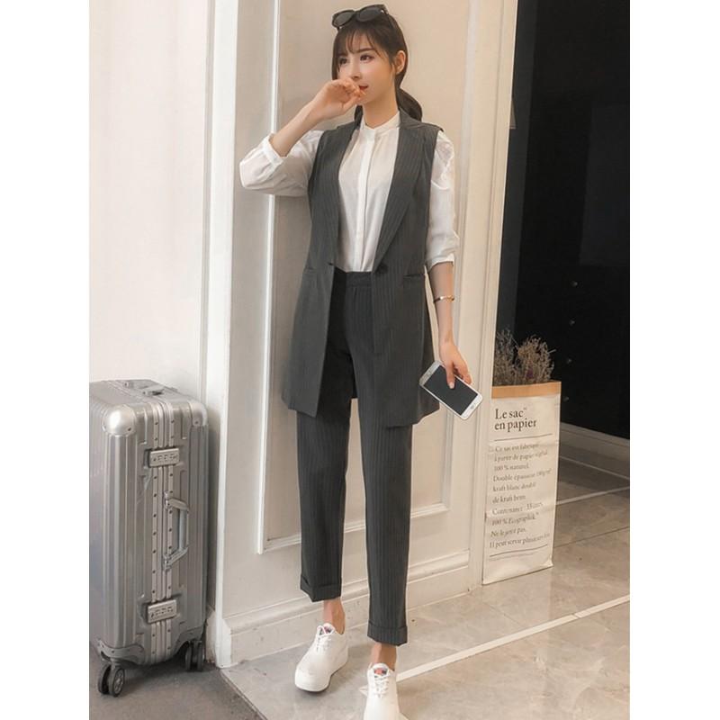 fashion Korea fashion korea tailored collar stripes tank jacket with long pants IZGEFOP