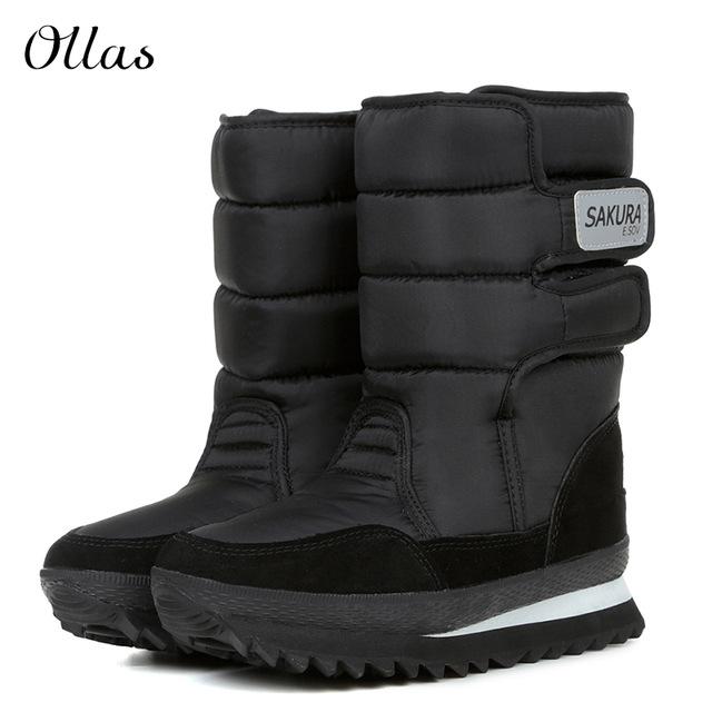 fashion women boot waterproof women winter mid-calf snow boots flat heels  winter boot warm EPYAGMD