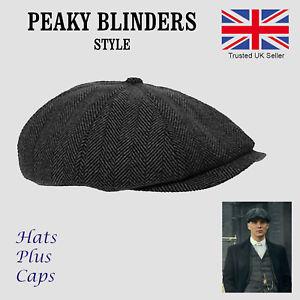 flat caps image is loading mens-peaky-blinders-newsboy-flat-cap-grey-herringbone- TNJWVSX