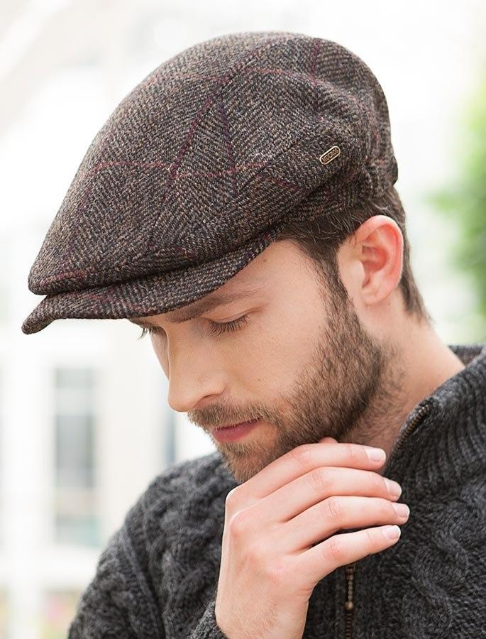 flat caps kerry tweed flat cap - brown with red YYNNAGL