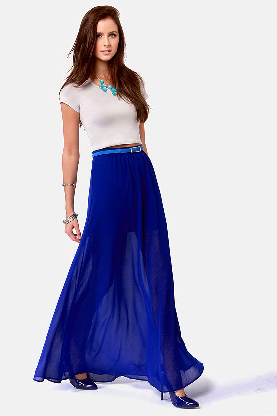 floor de lis royal blue maxi skirt EQLTPAY