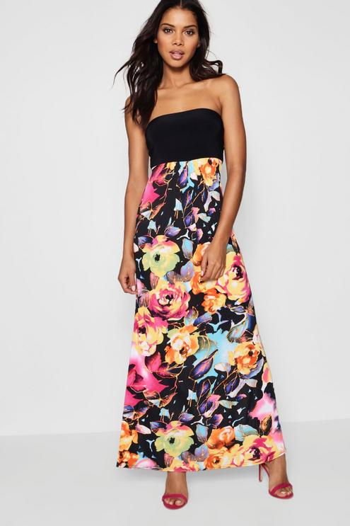 floral bandeau maxi dress QFIQWEP