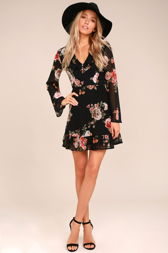 floral dress alive with artistry black floral print long sleeve dress SDCYBXO