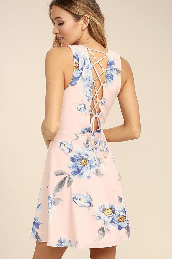 floral dress garden walk blush pink floral print lace-up skater dress BIDWMQW