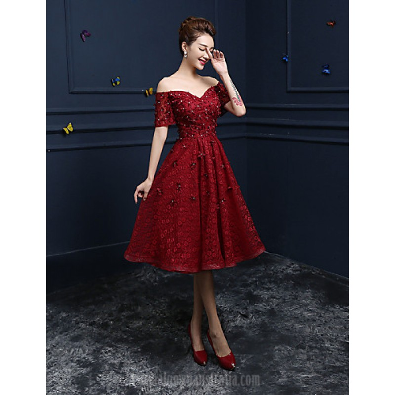 formal dresses australia formal evening dress burgundy a-line off-the-shoulder tea-length CHACHPE