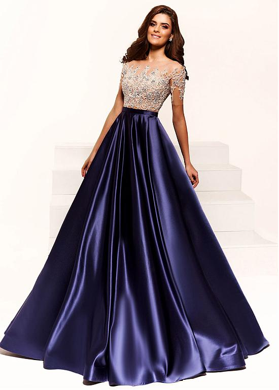 formal dresses formal satin jewel neckline short sleeves a-line evening dresses with  beaded embroidery ... WHWBXYU