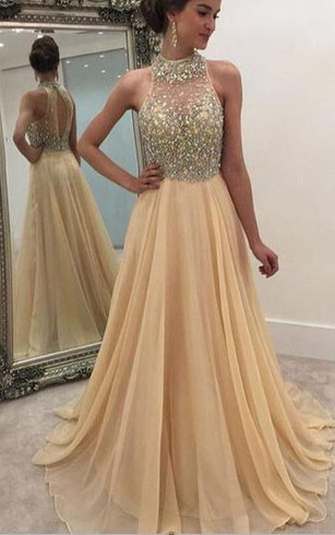 formal dresses long rhinestoned sleeveless high-neckline chiffon gown XTBMCRI