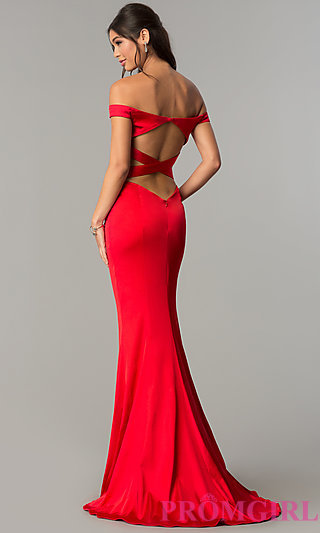 formal dresses open-back off-the-shoulder prom dress - promgirl VMEKSGB