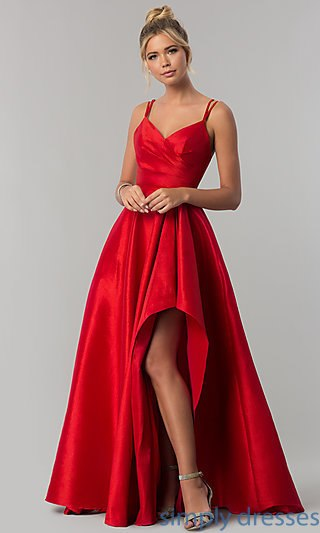 formal dresses taffeta long prom dress with side high-low slit . WABCSQN