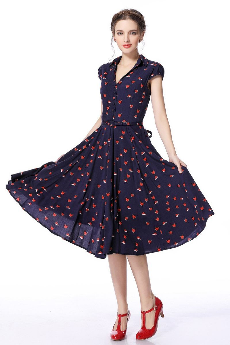 foxy lady collared vintage dress NXQCGIT