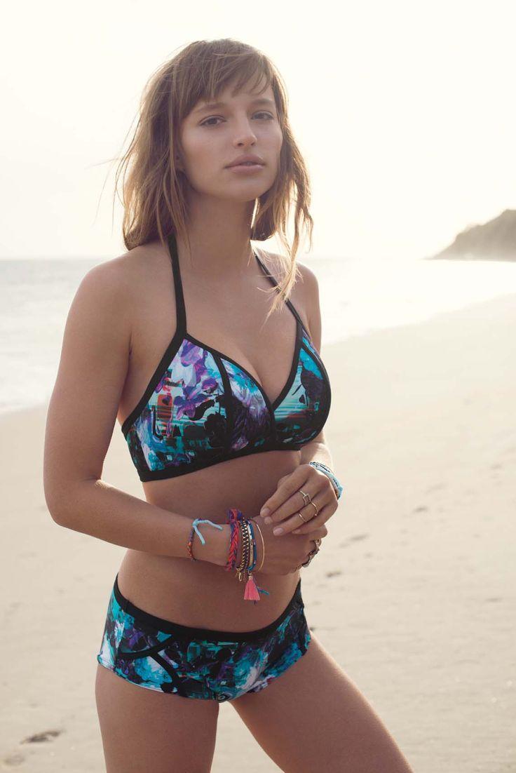 freya swimwear freya atlantis soft triangle bikini top: deep blue of the atlantis with  distorted florals HMKWXRB