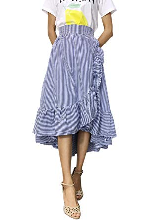 futurino womenu0027s stripe flounce high low hem swing maxi wrap skirt HSKRLBV