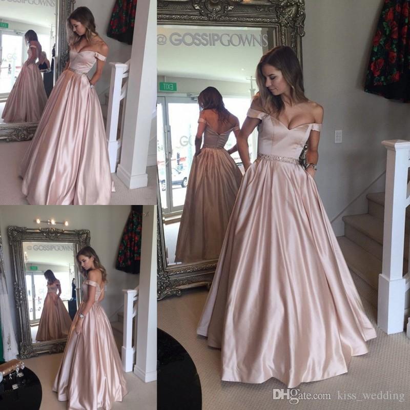 Glamorous dresses 2017 hot sales glamorous satin prom dresses off shoulder floor length  sleeveless evening gowns WHBZYVT
