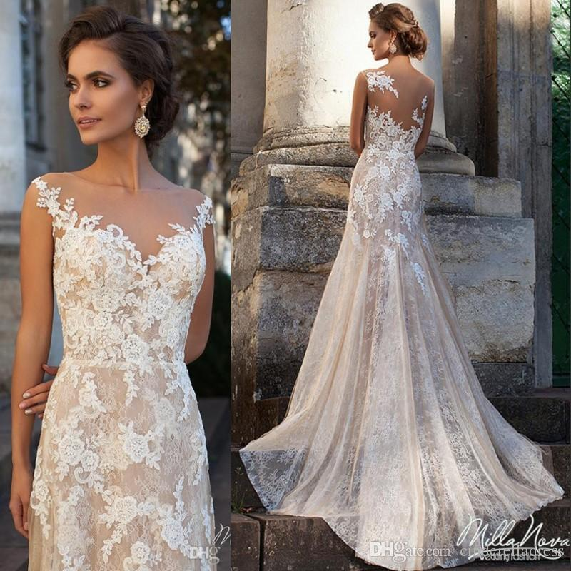 Glamorous dresses discount 2017 glamorous milla nova vena wedding dresses long full lace a  line with ILDYIUG