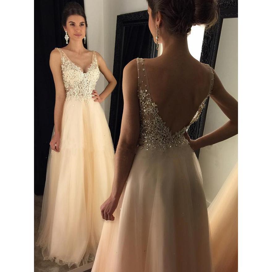 Glamorous dresses glamorous backless prom dresses, a-line v-neck tulle long formal evening  wear HYVKXLL