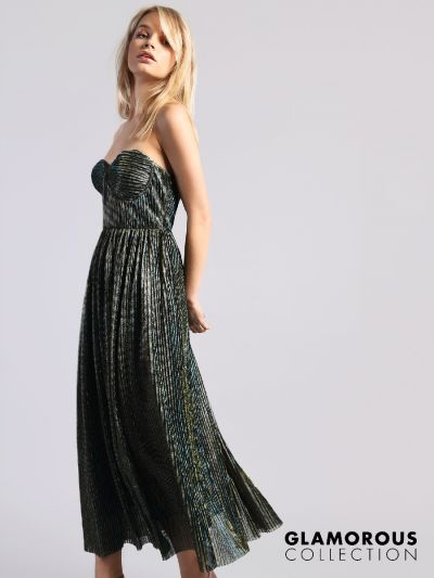 Glamorous dresses glamorous collection green blue metallic maxi dress FQSUBVZ