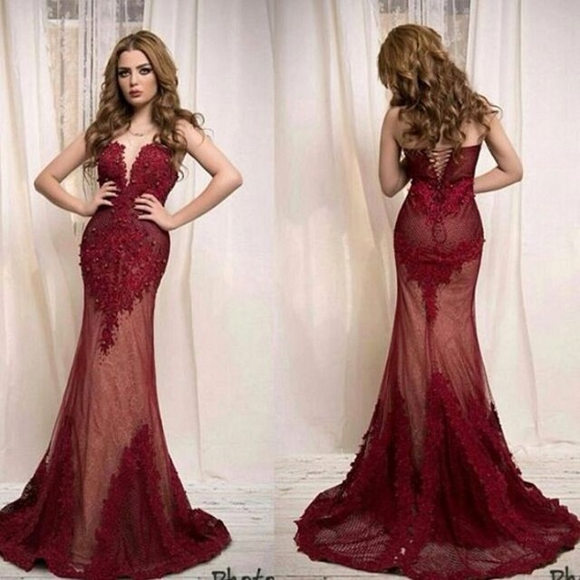 Glamorous dresses glamorous dark red mermaid evening dresses saudi arabic design lace  appliques prom dresses formal LXOJWYG