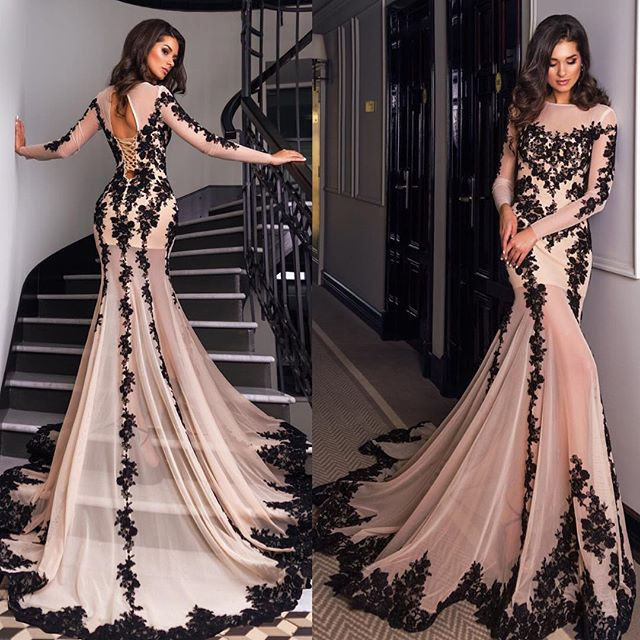 Glamorous dresses glamorous long sleeve black lace evening dress mermaid lace up back party  prom gown NQRPCAF