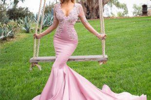 Glamorous dresses glamorous mermaid rose pink evening dresses 2017 sheer long sleeves  applique lace and satin UHKEJOP