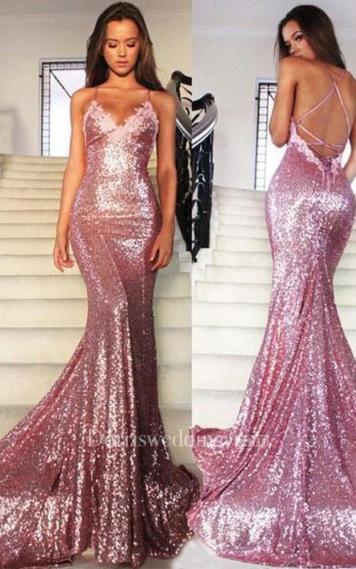 Glamorous dresses glamorous sequins v-neck prom dresses 2018 mermaid spaghetti straps party  gowns FONCGBJ