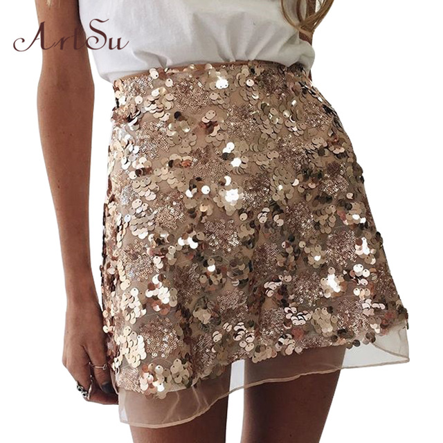gold sequin skirts artsu gold sequin mesh mini skirts womens christmas chic high waist skirt  zipper casual YHVSJRS