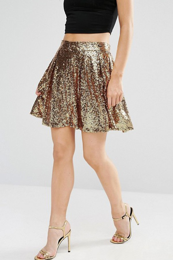 gold sequin skirts gold sequin decor zipper back metallic skater skirt KTCNXFO
