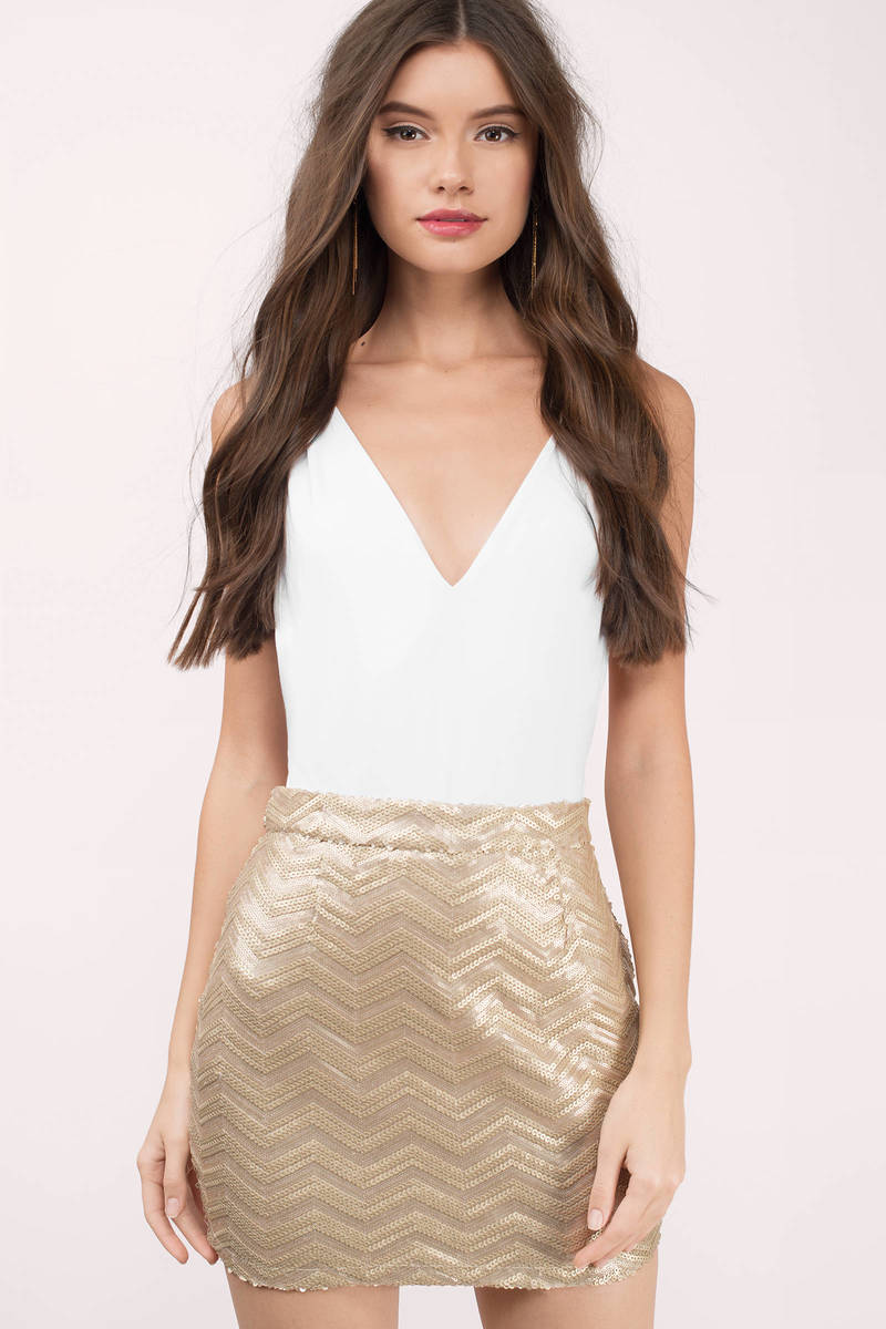gold sequin skirts plaits of sequins gold chevron mini skirt BAZODGE