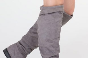 grey suede boots slouch on faux suede knee-high boots grey ... HGQKLSL