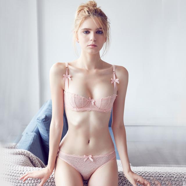 half cup bra new 2016 sexy lace transparent seamless unlined half cup bras for women  underwear set DTIDMPR