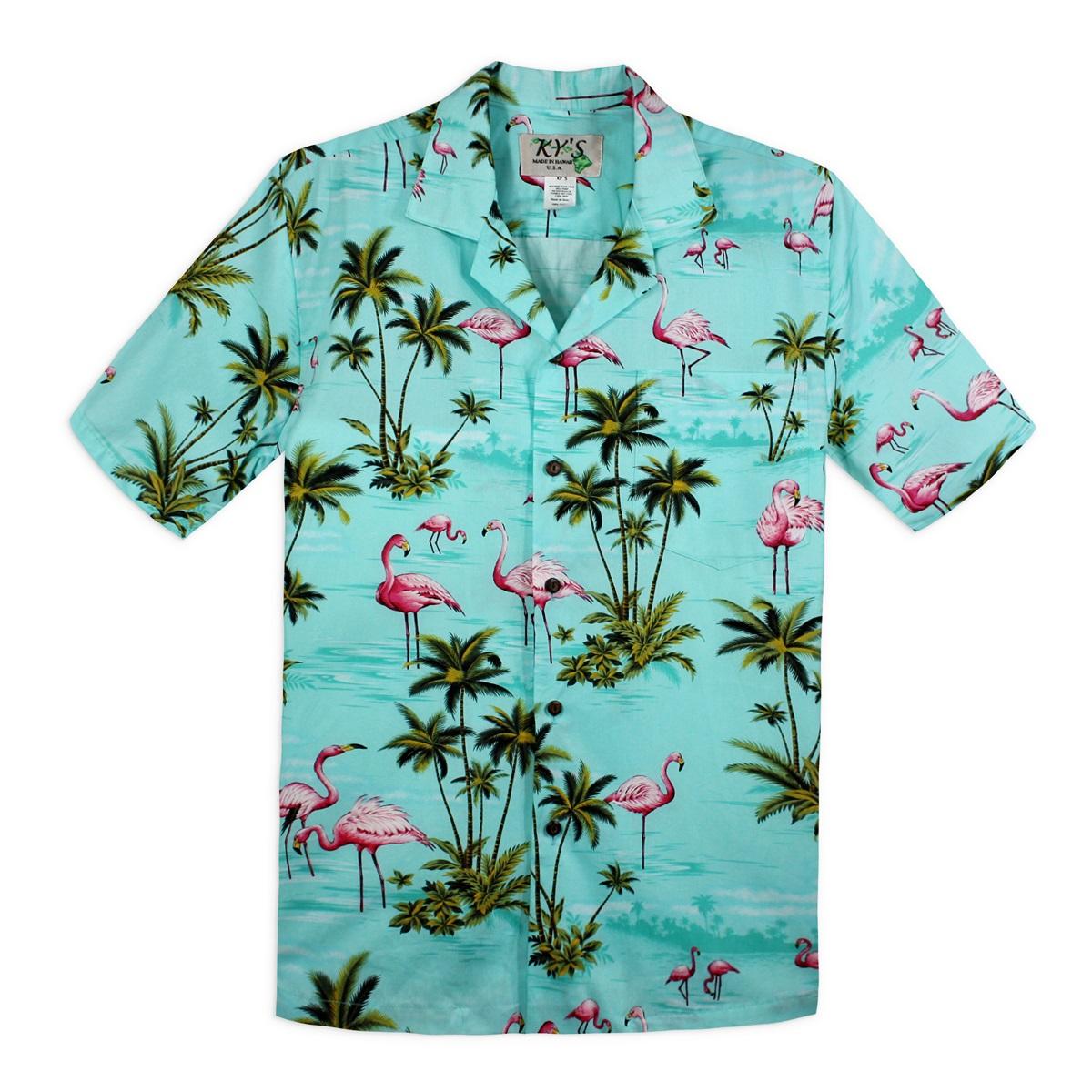 Hawaiian Shirt hawaiian shirt - flamingo bay - mint green QNKQQZU