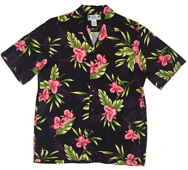 Hawaiian Shirt hawaiian shirt orchid fern black - two palms hawaiian wear made in hawaii,  usa KEWTSHE