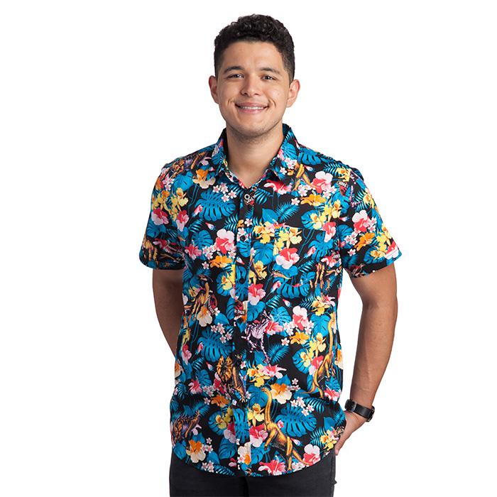 Get a cool beachwear look with Hawaiian Shirt