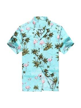 Hawaiian Shirt made in hawaii menu0027s hawaiian shirt aloha shirt pink flamingos allover in  turquoise - MFZZIQP