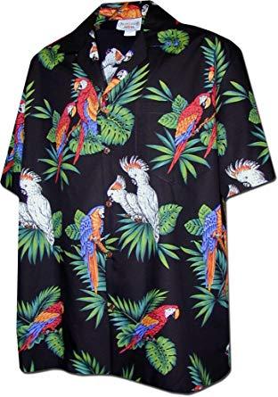 Hawaiian Shirt parrots hawaiian shirt, black (s) LOQUOEL
