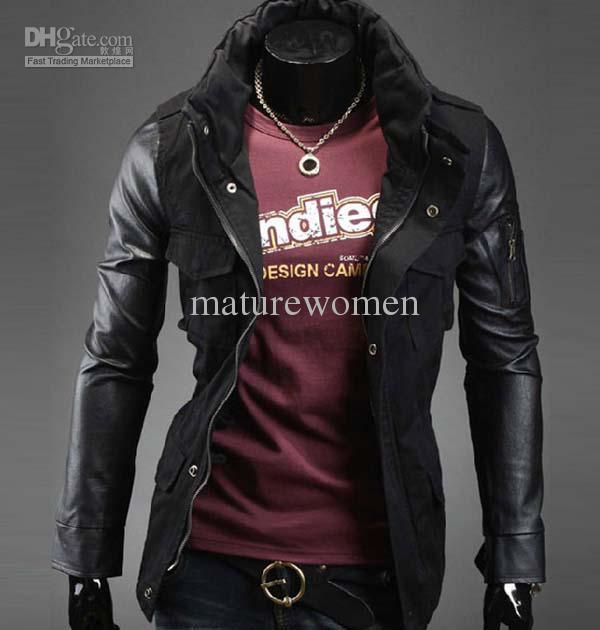 hot sale korean men leather sleeve jacket slim fit cool jackets for men  black MMRYOKZ