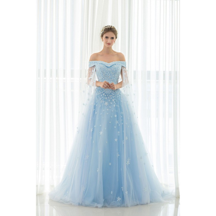 hot sale sweep train evening prom dress long light blue dresses with lace  up BSNMEQZ