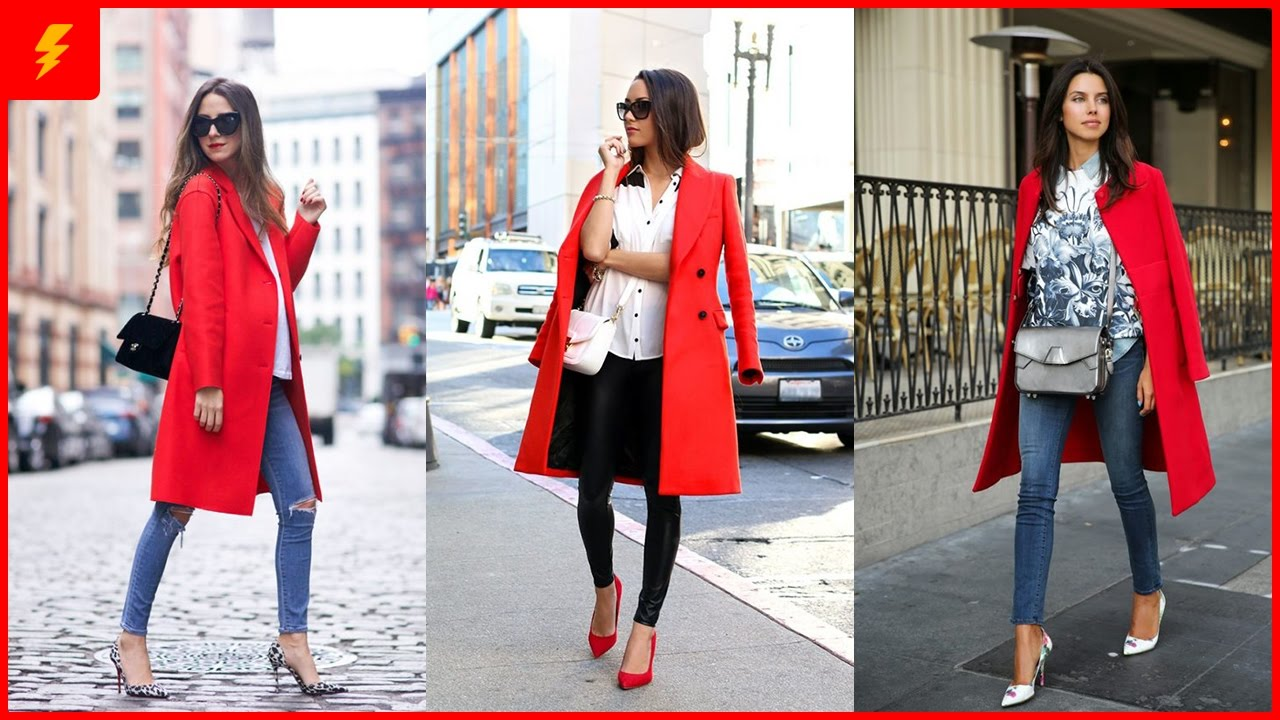how to wear red coat to look stylish JQUWMPM
