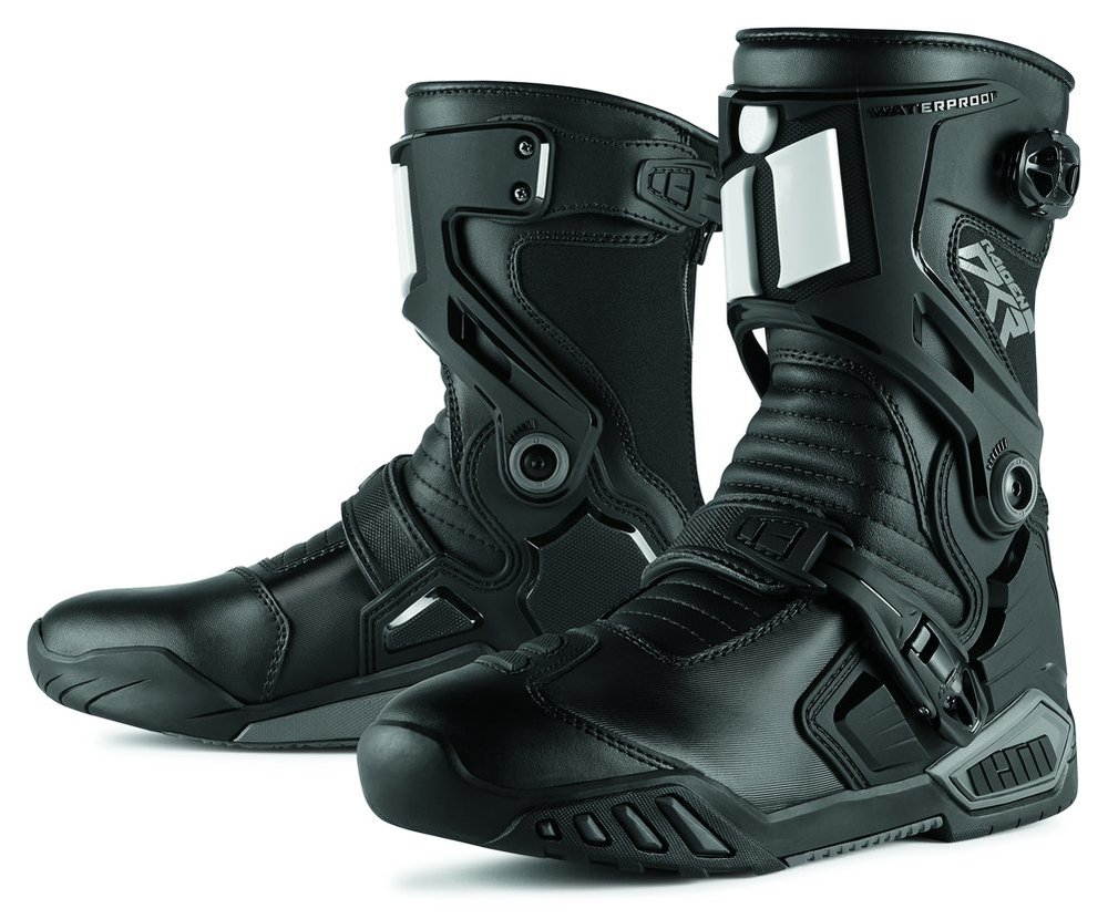 icon mens raiden dkr armored rear entry zip leather motorcycle riding boots  black ... UGLJWMM