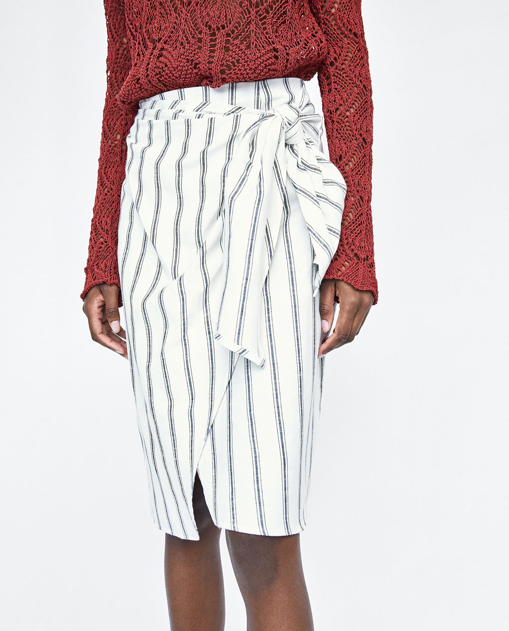 image 2 of striped wrap skirt from zara ZVCKDXO