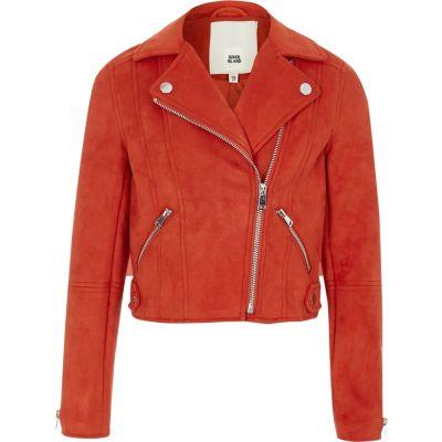 jackets for girls girls red faux suede biker jacket AMCFCLU