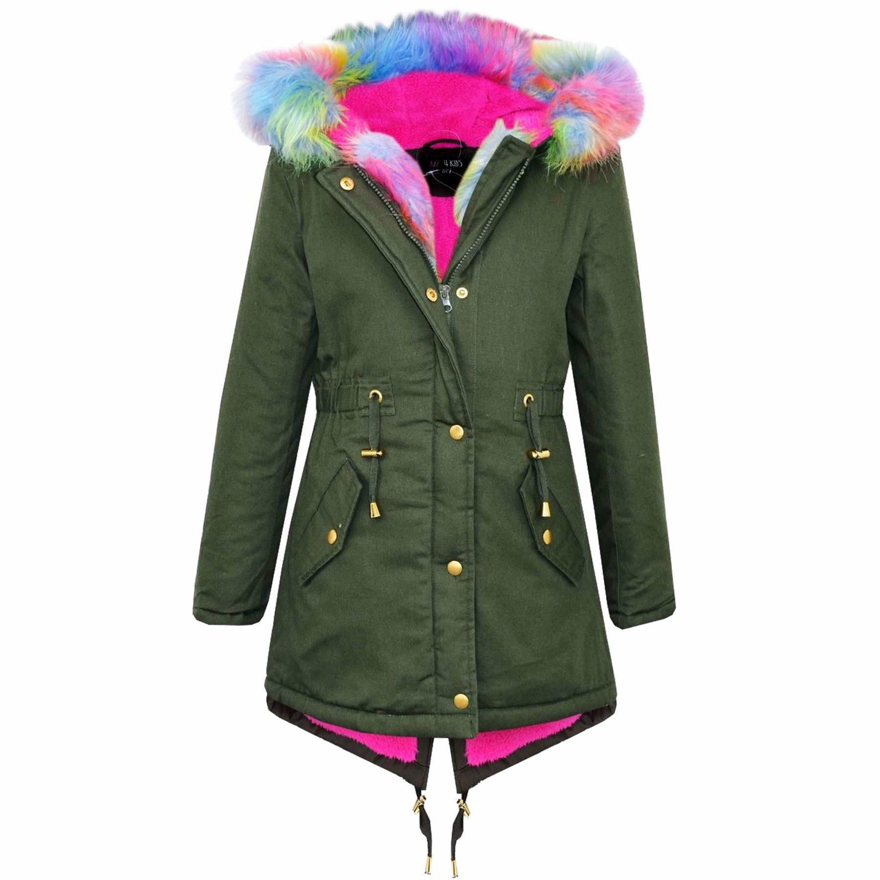 jackets for girls kids-hooded-jacket-girls-rainbow-faux-fur-parka- JDFWYER