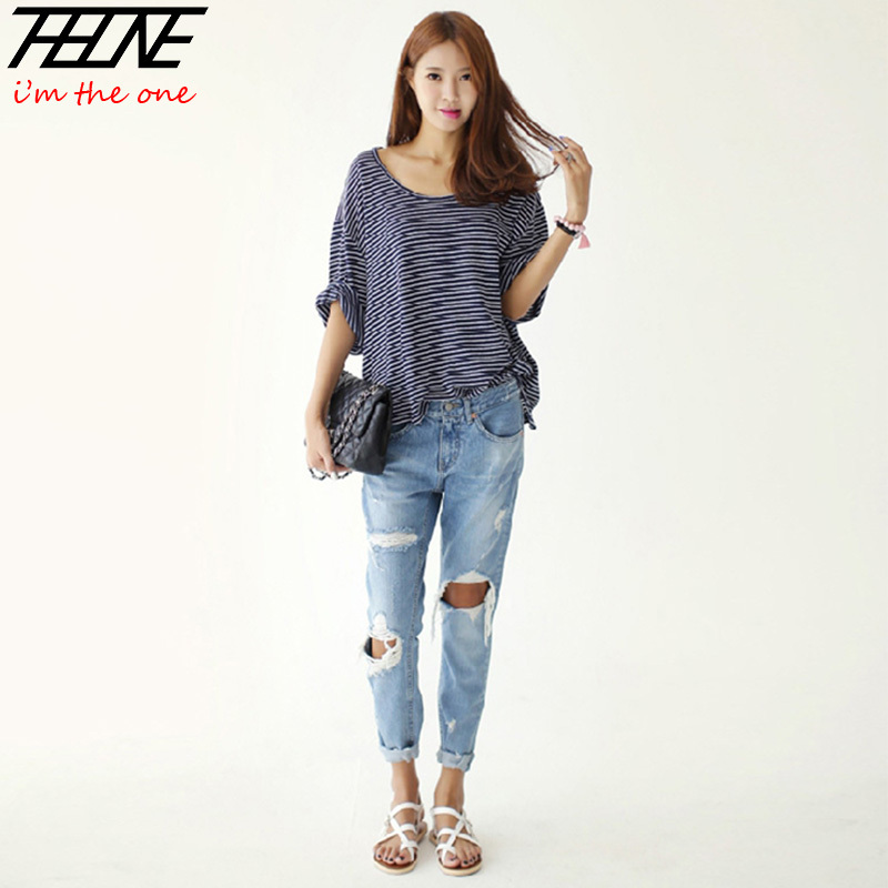 jeans fashion for women autumn new fashion cotton jeans women loose low waist washed vintage big  hole ripped YIZGXPV