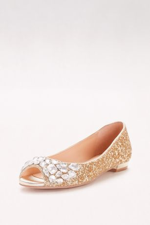 jewel badgley mischka yellow (glitter peep-toe flats with gem embellishment) VUIMZSK