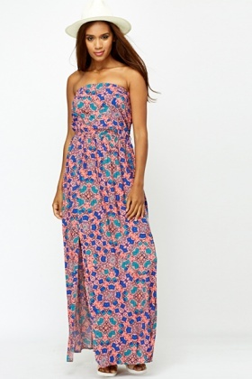 kaleidoscope bandeau maxi dress CUDRWOI